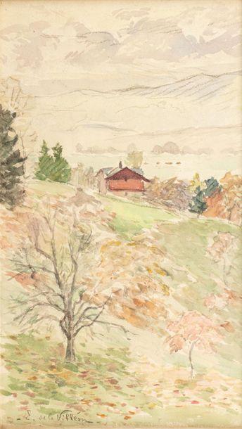Emmanuel de LA VILLEON (Fougères 1858- Paris 1944) House in a landscape Watercolour...