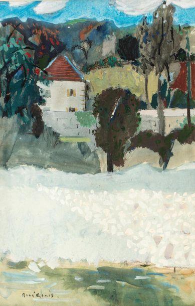 René GENIS (1922-2004) Paysage au moulin...