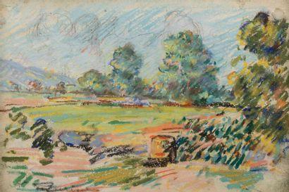 Auguste PEGURIER (1856 - 1936) Paysage Pastel...