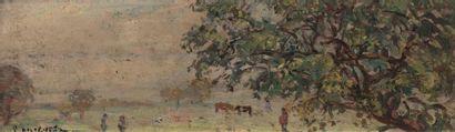 Emmanuel de LA VILLEON (Fougères 1858- Paris 1944) Horses in a landscape (view from...