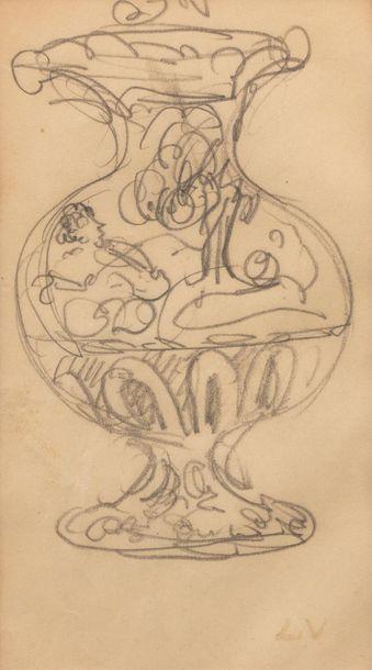 Louis VALTAT (Dieppe 1869 - Paris 1952) Project of decoration for a vase, before...