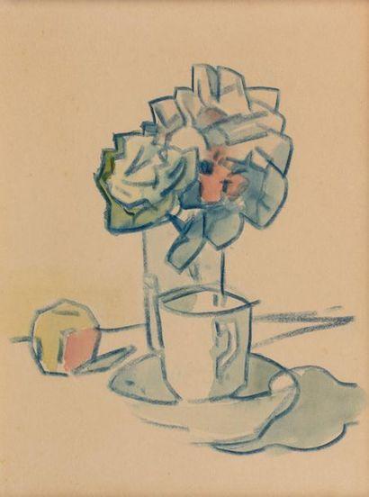Léon SUZANNE (Bolbec 1870- Rouen 1913) Bouquet of Flowers, apple and cup Blue chalk...