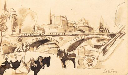 Robert LOTIRON (Paris 1886- Rueil Malmaison1966) Lot of 4 Village drawings (pencil...