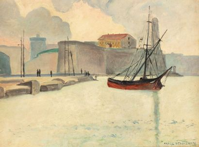 André VERDILHAN (marseille 1881 - 1963) Port...