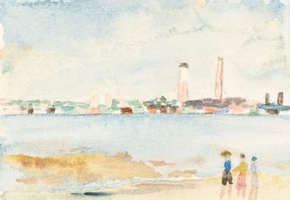 DM (Active in the 20th century) Set of twelve watercolours on paper Beach Roof Landscape...