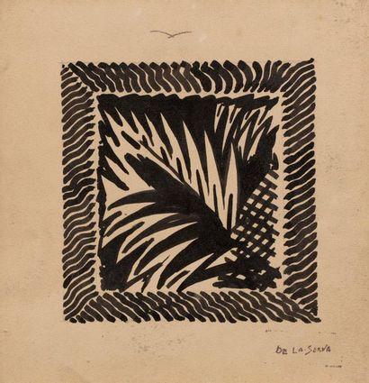 Ismael de la SERNA (Granada 1897 - Paris 1968) Leaves Ink on paper 23 x 21.8 cm...