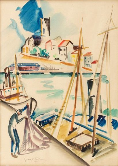 Georges Albert CYR (1880-1964) Pêcheur au...