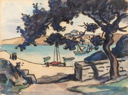 René BESSERVE (1883 - 1959) Port de pêche...