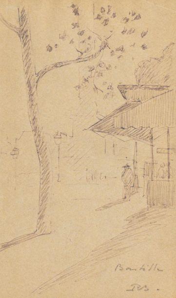 René BESSERVE (1883 - 1959) Place de Village...