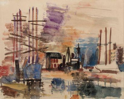 Jean DUFY (Le Havre 1888- Boussay 1964) Voiliers...