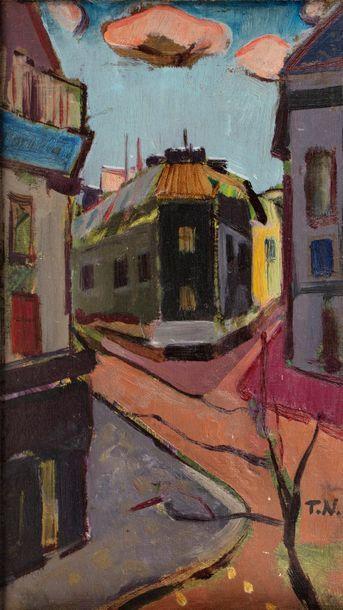 Thomas NIEDERREUTHER (1909-1990) Rue de ville, 1952 Huile sur carton toilé monogrammé...