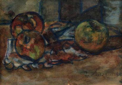 Léon SUZANNE (Bolbec 1870- Rouen 1913) Composition aux pommes Aquarelle sur papier...