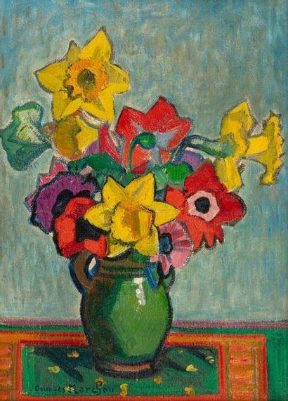 Georges MARCHOU (1898-1984) Anémones et narcisses Huile sur toile d'origine 46 x...