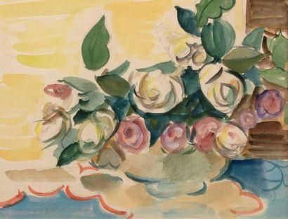 Louis LATAPIE (Toulouse 1891-1972) Vase de fleurs Aquarelle sur papier 24 x 31,5...