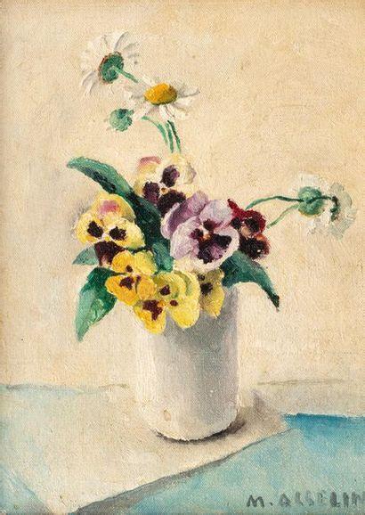 Maurice ASSELIN (1882-1947) Vase de fleurs Huile sur toile d'origine 33 x 24 cm...