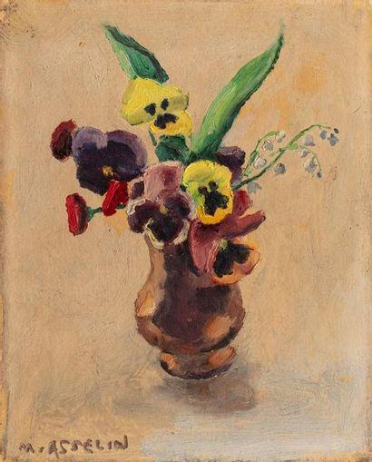 Maurice ASSELIN (1882-1947) Bouquet de pensées et de muguet Huile sur papier marouflé...