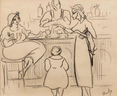 Luis Edouardo LA ROCHA CANALS (1886-1953) Femmes au comptoir du bar Crayon sur papier...