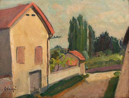 Edmond Amédée HEUZE (Paris 1884 - Paris 1967) La maison Huile sur carton 35,5 x...