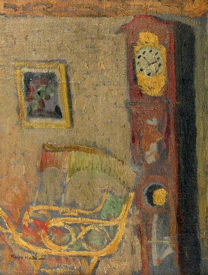 Pierre HODE (Rouen 1889 - 1942) Intérieur à l'horloge Huile sur toile contrecollée...