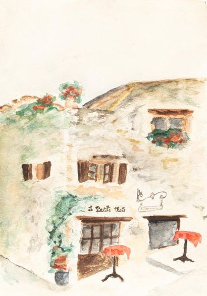 MAYER (Actif au XX ème siècle) Le café la petite Chatte, 4 janvier 1989 Encre et...