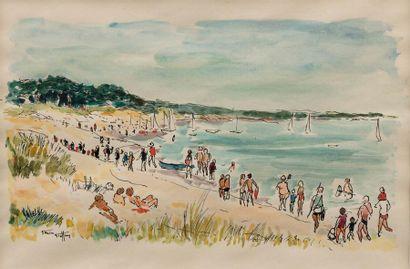 Daniel GARNIER GEOFFROY (Né en 1923) Personnages sur la plage Aquarelle et encre...