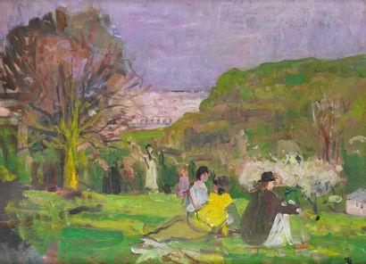 Lucien SIMON (Paris 1861-1945) Partie de campagne au parc de Saint Cloud Huile sur...