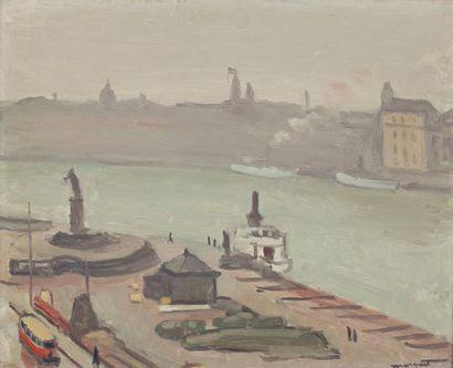 Albert MARQUET (Bordeaux 1875- Paris 1937) Vue de Stockholm, la statue Huile sur...