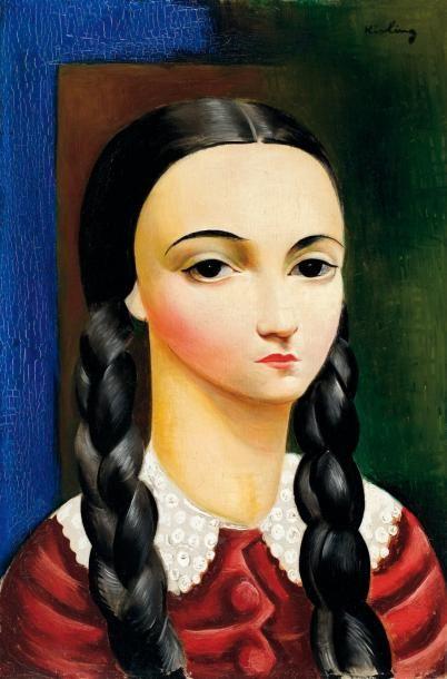 Moise Kisling 1891-1953 Jeune fille aux nattes, 1930 Huile sur toile 41 x 27cm (15.99...