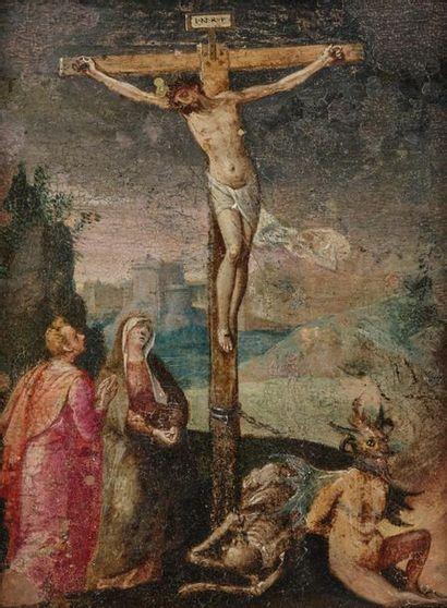 Ecole ESPAGNOLE vers 1600 Le Christ en croix...