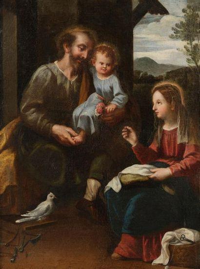 ESPAGNOLE School circa 1630 The Education of Christ Canvas 97 x 71 cm Bears a number...