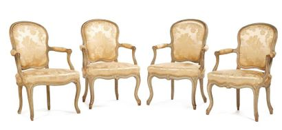 Set of four convertible armchairs in moulded and carved wood with grey relaqued...
