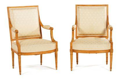 Paire de fauteuils à dossier plat carré en...