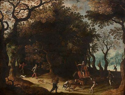 Ecole FLAMANDE du XVIIème siècle Scène de...