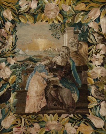 L'Education de la Vierge Broderie de soie...