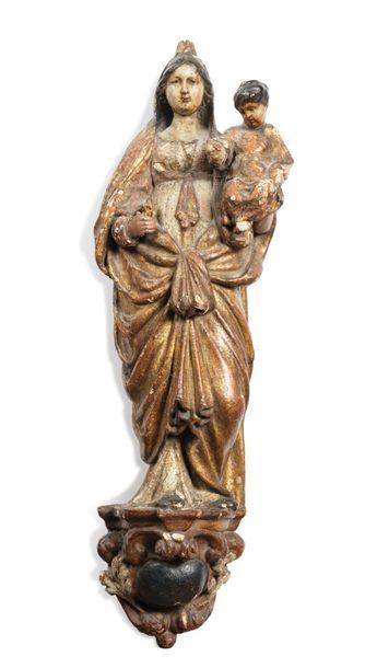 Vierge à l'Enfant Statue d'applique en bois...
