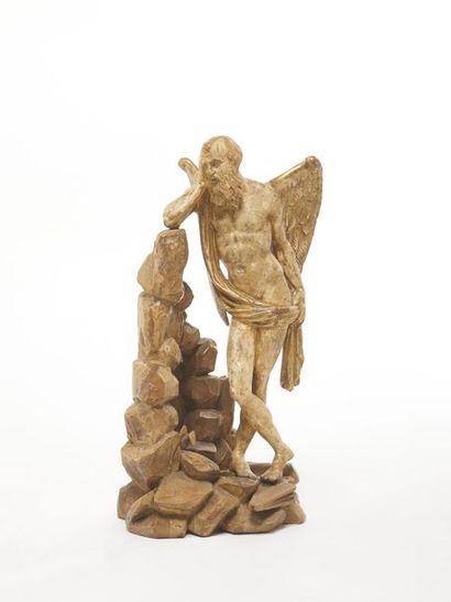 Chronos Statuette en bois sculpté, polychromé...