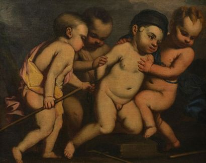 GENOISE school of the XVIIth century Group of Putti playing Canvas 66 x 83 cm Numerous...