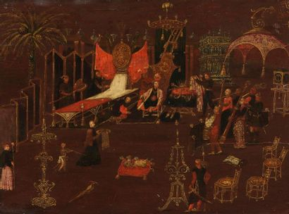 Ecole FLAMANDE vers 1660 Le lever de l'Empereur...