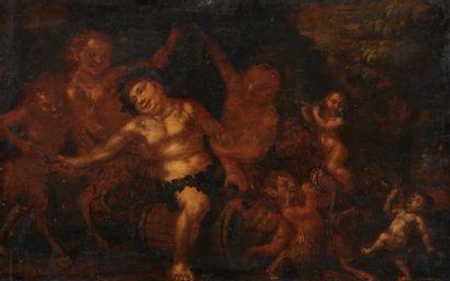 Ecole FLAMANDE vers 1700 Le festin de Bacchus...