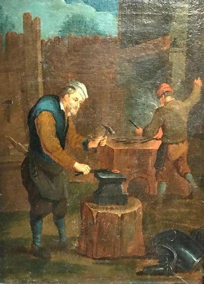 Attributed to Jan Josef HOREMANS (1682 - 1759) The blacksmith Canvas 31.5 x 24 ...