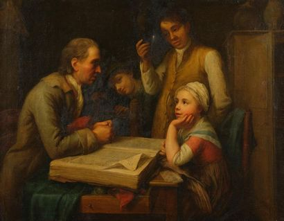 Ecole ANGLAISE vers 1800 Le maître d'école...