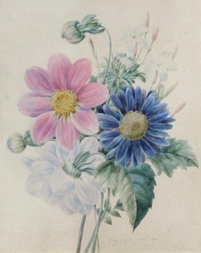 Pancrace BESSA (1772-1846) Etude de fleurs,...