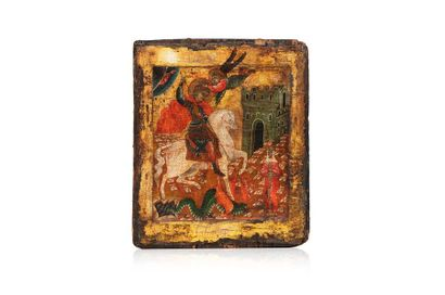 Icône figurant Saint Georges terrassant le...