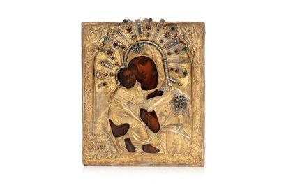 Icône de la Mère de Dieu de Vladimir. Chromolithographie...