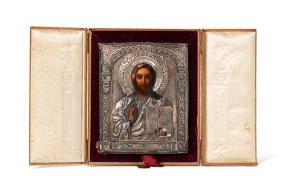 Icône du Christ Pantocrator. Chromolithographie...