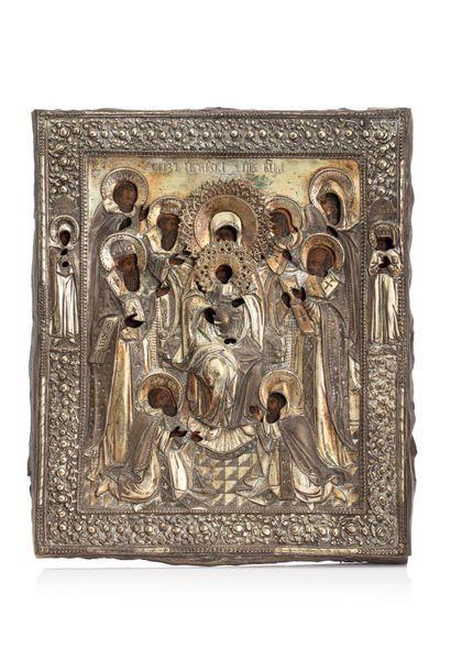 Icône de la Mère de Dieu Pecherskaya. Tempera...