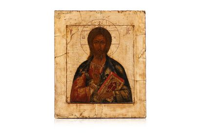 Icône du Christ Pantocrator. Levkas et tempera...