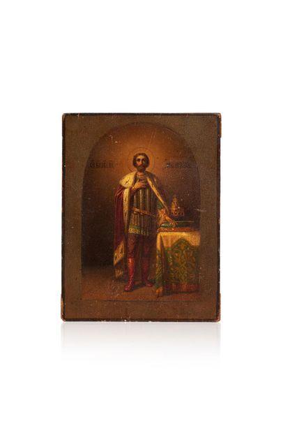 Icône de Saint Alexandre Nevsky. Chromolithographie...