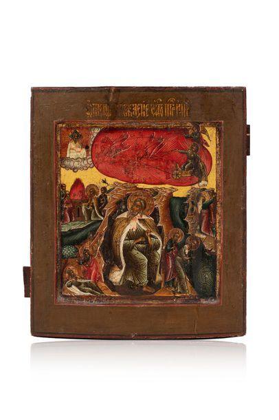 Icône de l'ascension du prophète Élie. Tempera...