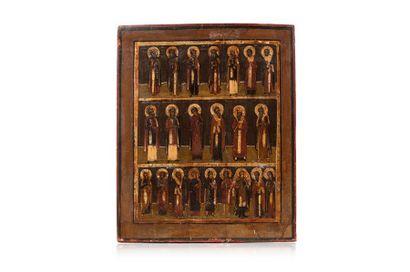 Icône sur trois registres figurant 22 saints...